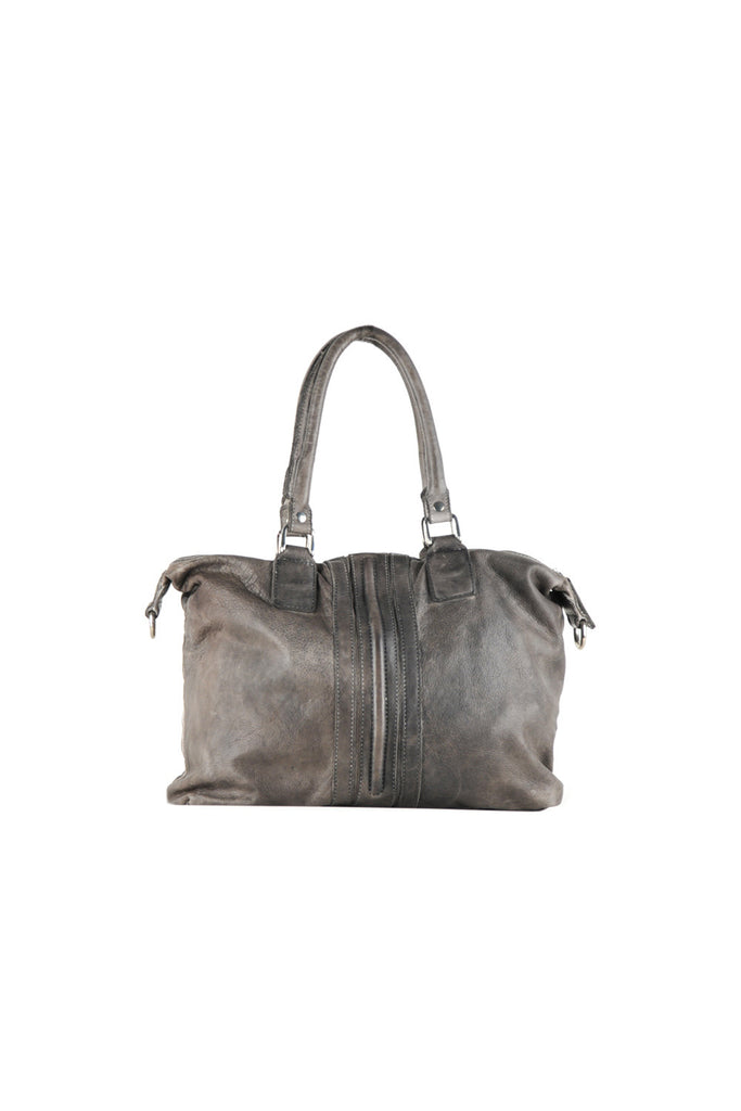 Large shoulder bag with zipper detailing and two rings on strap