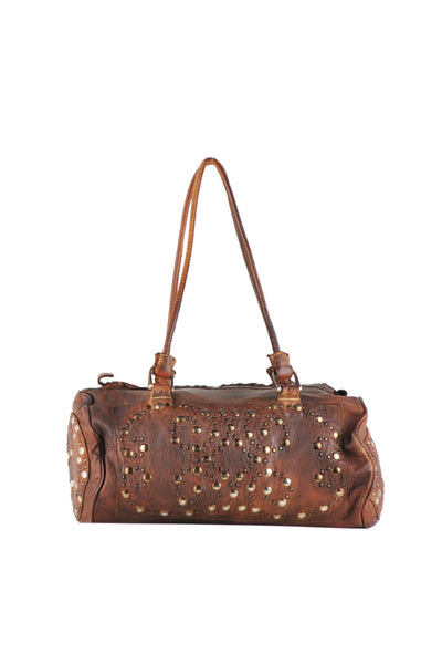 Small shoulder bag with studded design, front, back, and sides with rings on the strap.