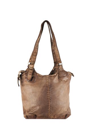 Large Dark Brown Shoulder bag with Stitching detail