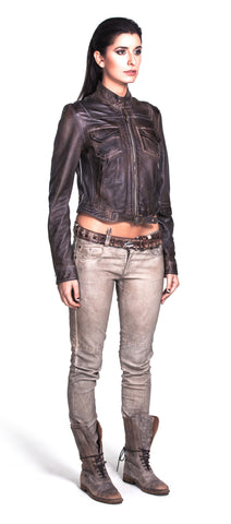 Cropped motorcycle jacket with symmetrical pocket layout and buckle design