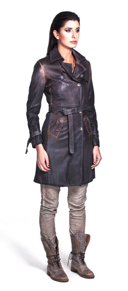 TRENCH COAT WITH LAPEL AND BUCKLE DESIGN