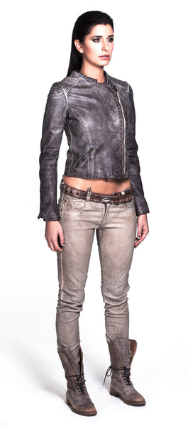 Motorcycle Jacket with asymmetrical zip with two front pockets. With shoulder and back ripple lining detail.