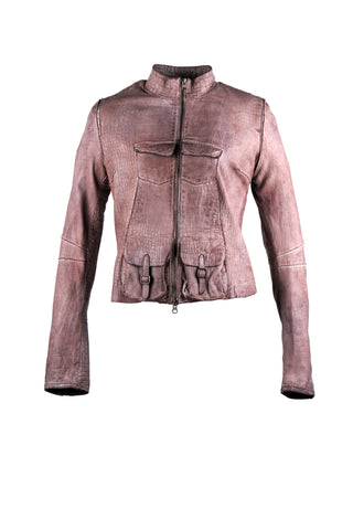 Crocodile print bomber jacket with four front pockets, two with buckle design. With a lining design on the sleeves and back.