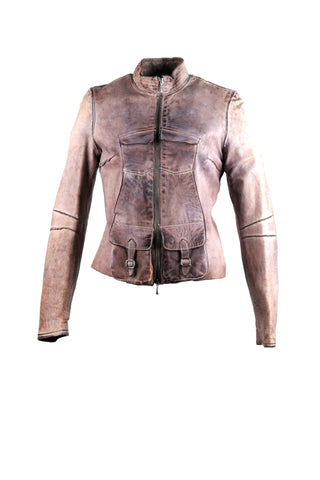 Bomber jacket with four front pockets, two with buckle design. With a lining design on the sleeves and back.
