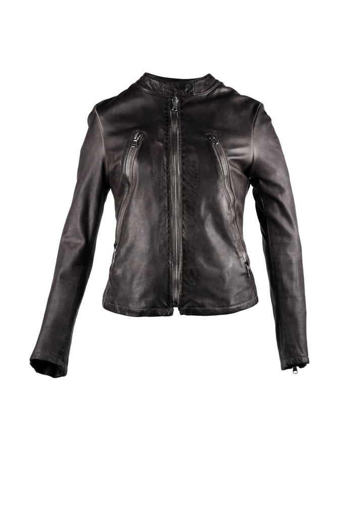 Motorcycle jacket with zipper designs and neck strap with snap