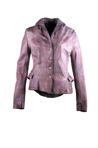 Feminine blazer jacket with pocket detailing on the sides with outlining stitching details and ruffle effect on the back bottom
