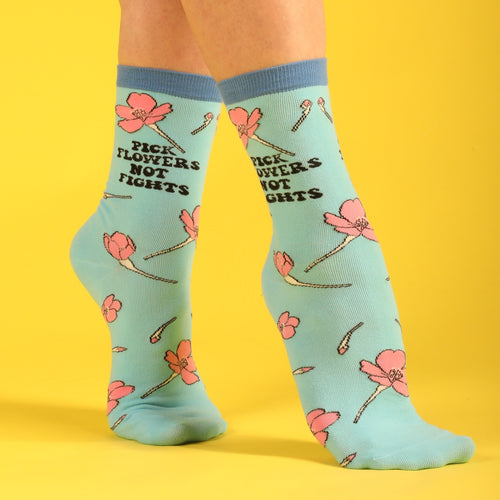 Pick Flowers Not Fights Women's Socks