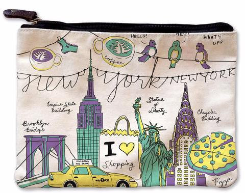 NY Illustration Colorful Canvas Pouch