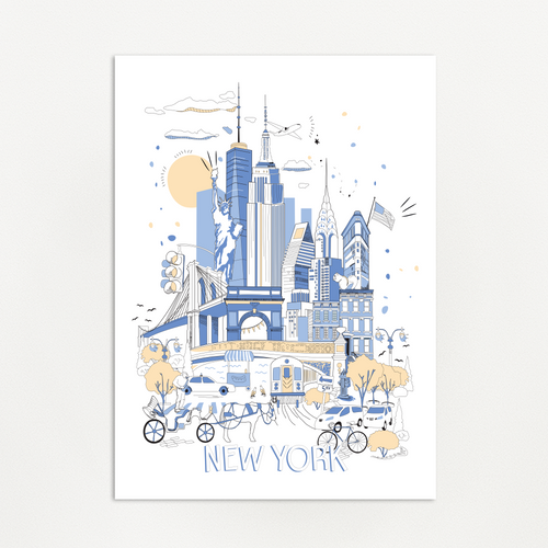 NY Blue Illustration