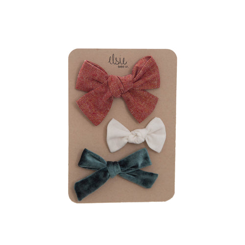 Poinsettia Bow Set