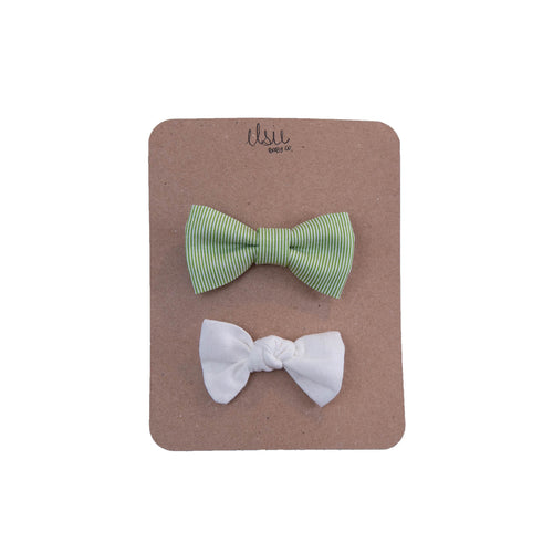 Green Stripe Bow Set