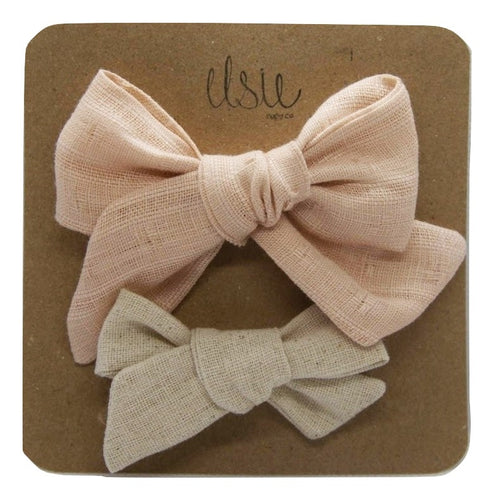 Valentine's Bow Set - Pink and Sand