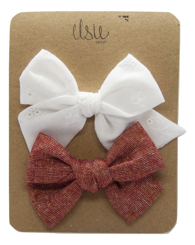 Valentine's Bow Set - White and Red