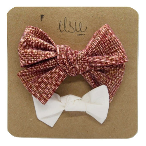 Valentine's Bow Set - Red and Snow