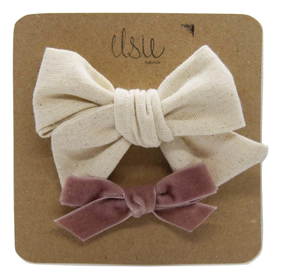 Valentine's Bow Set - Sand and Velvet