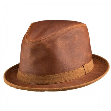 Soho distressed leather fedora