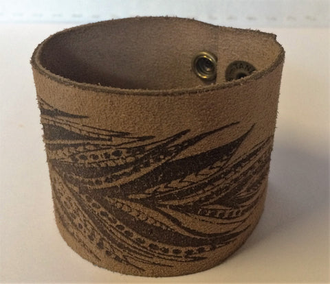 AMHM Leather Feather Cuff Bracelet