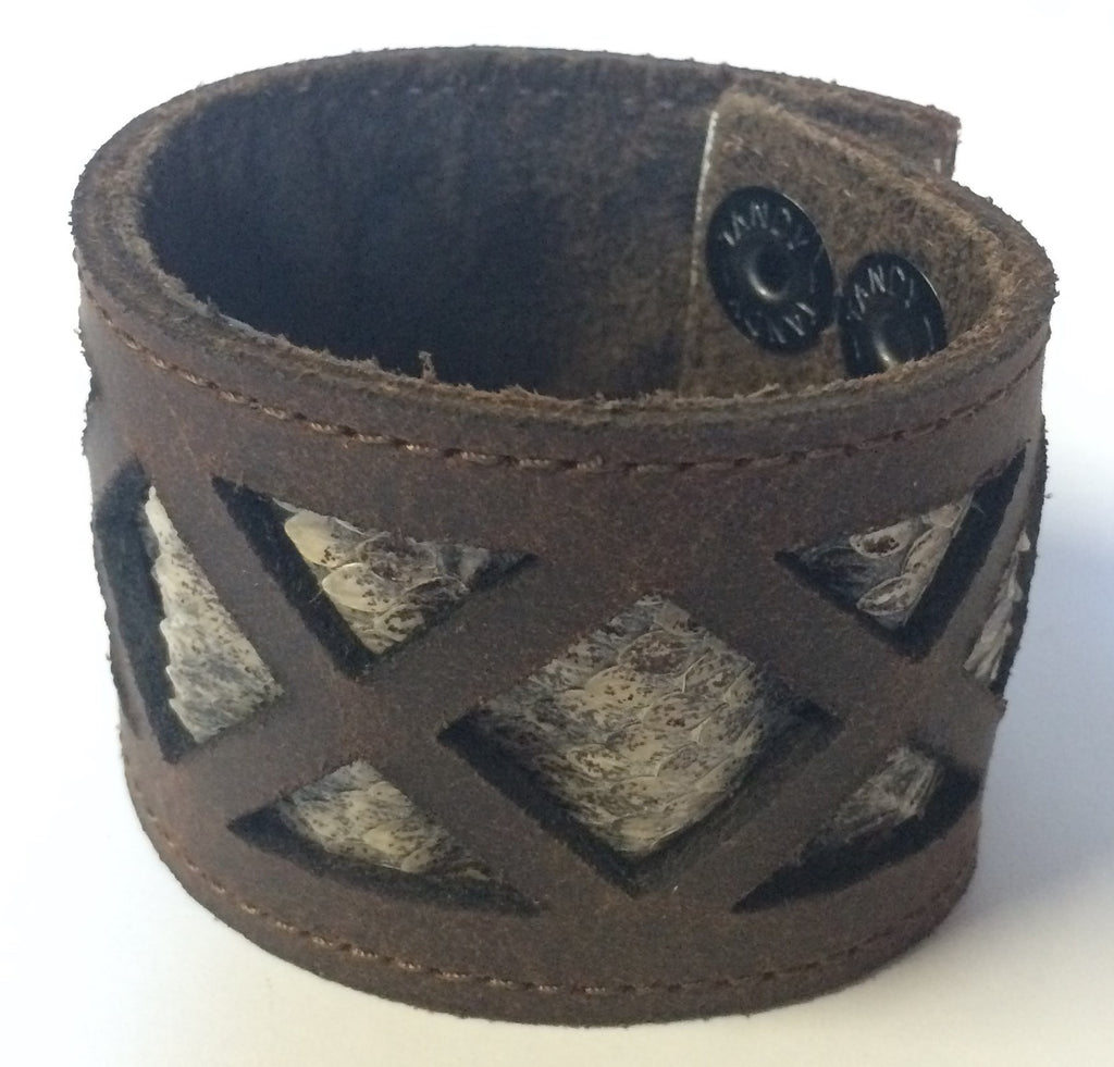 AMHM Leather Snakeskin Cuff Bracelet