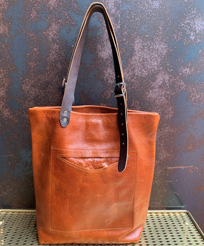 AmFm Stacy Leather Tote Bag in Rust