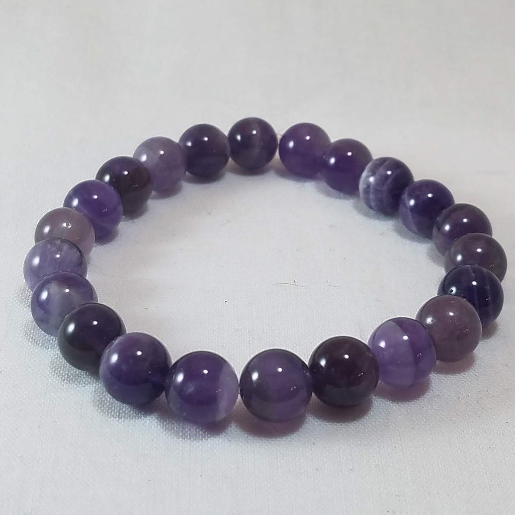 Raw Aura Amethyst Stretchy 8 mm Crystal Bracelet