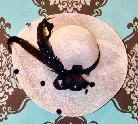Polka Dot Feathered Black & White Summer Hat