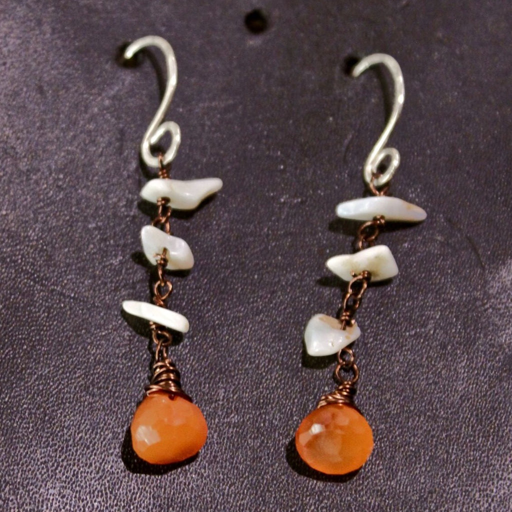 Carnelian & Opal Flake Earrings