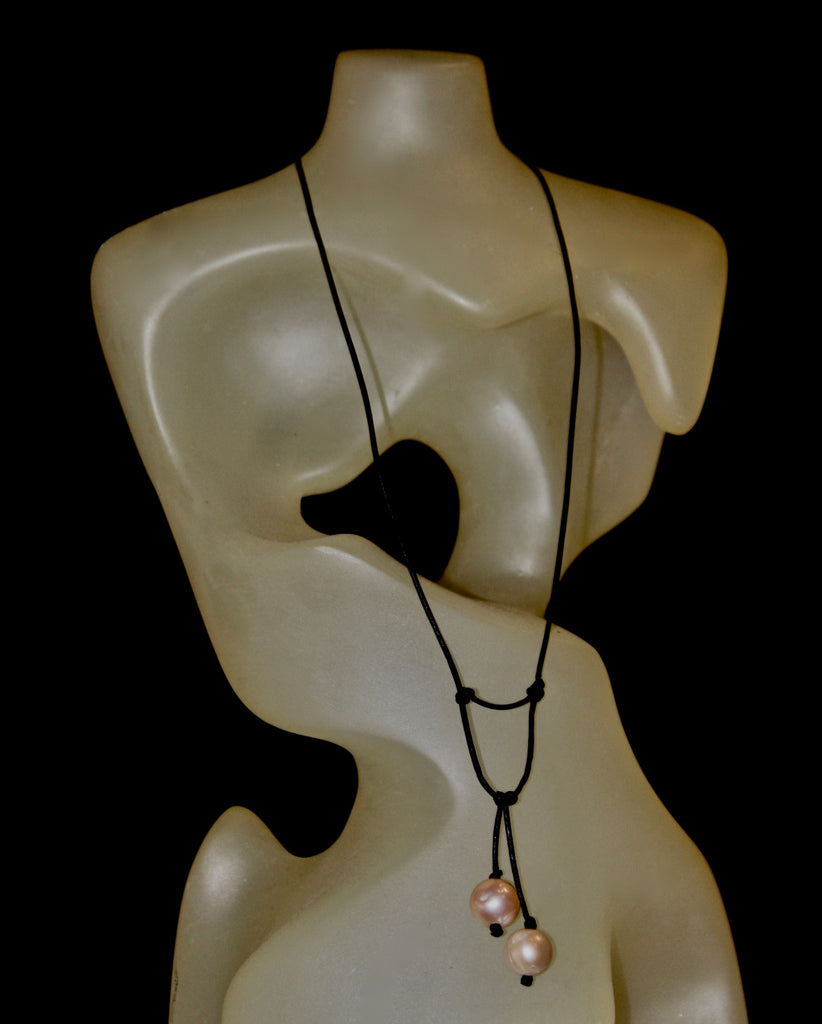 Double Fresh Water Pearl Leather Necklace