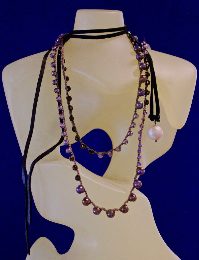 Black Suede Leather W/ Pink Pearl Drop Wrap Necklace