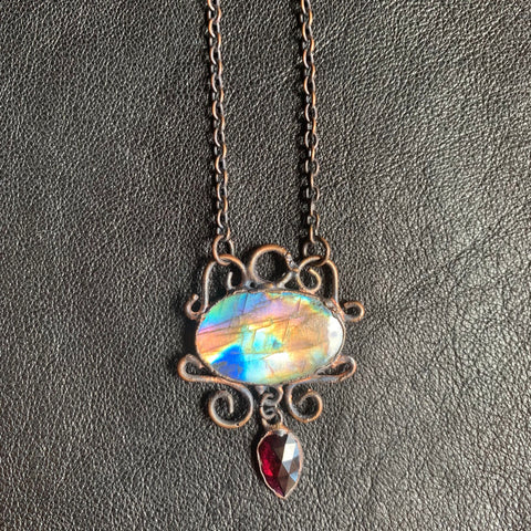 Arcane Ascents Rainbow Labradorite with Indian Ruby Pendant