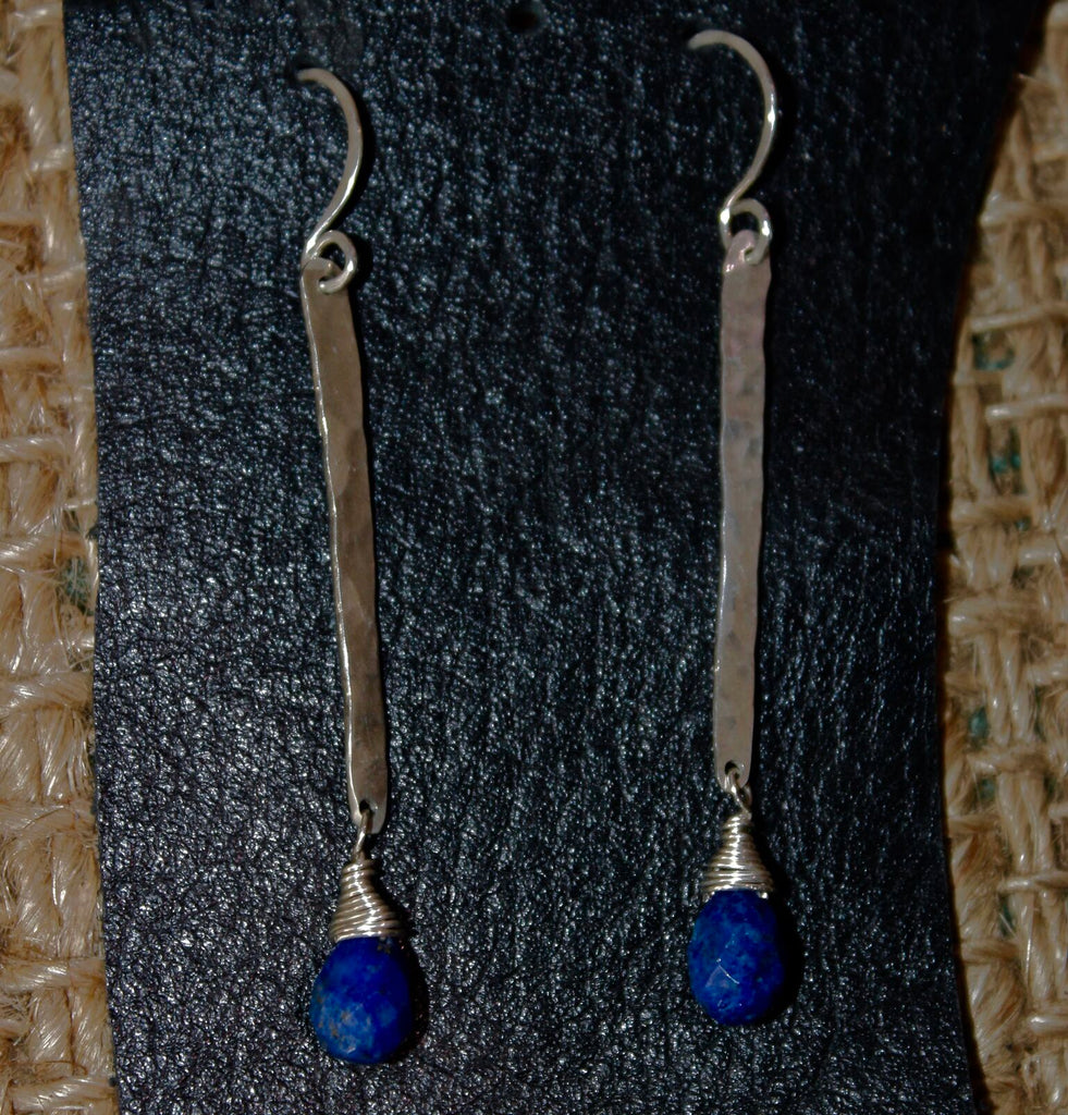 Sterling Silver Stick With Lapis Earrings