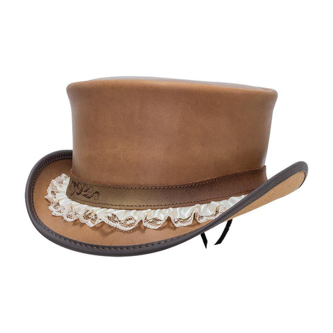 Steampunk Hatter Marlow Top Hat with Garter Band in Pecan