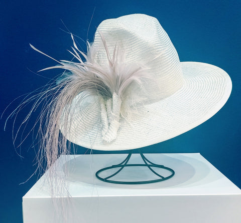 Blush Feathered Natural Fedora