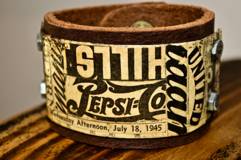 Vintage Newspaper Leather Cuff