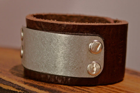 Pewter Metal Plate Leather Cuff