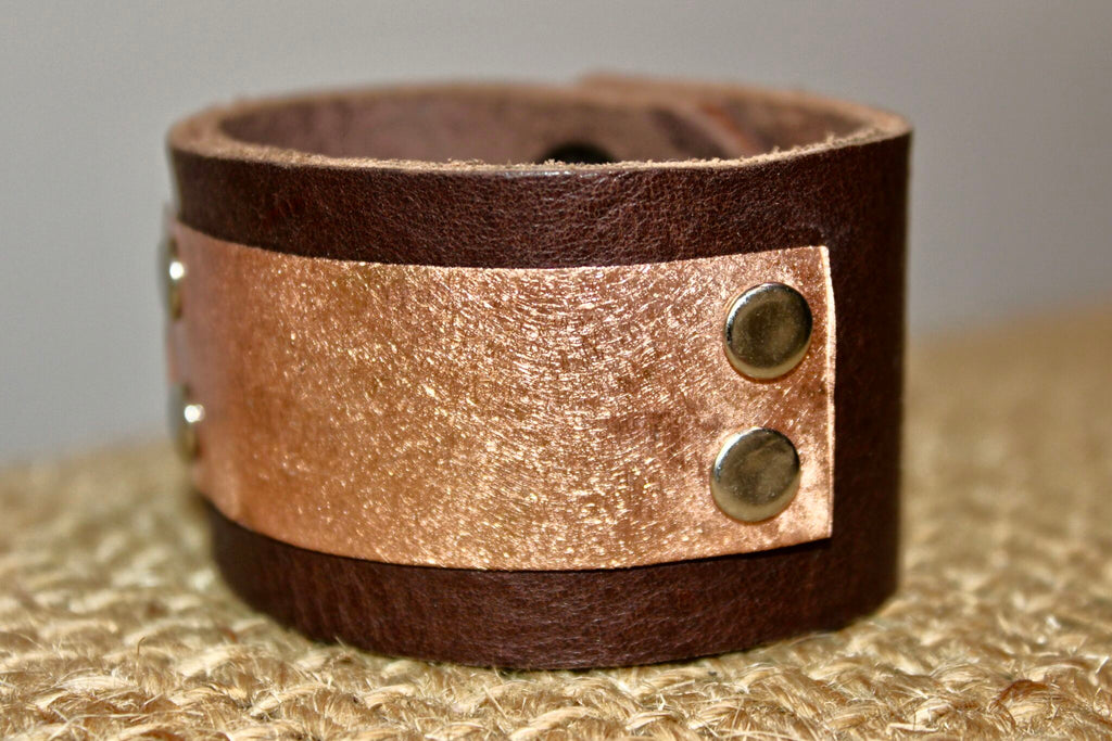 Rose Gold Metal Plate Leather Cuff