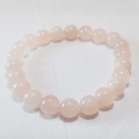 Raw Aura Rose Quartz 10 mm Stretchy Crystal Bracelet