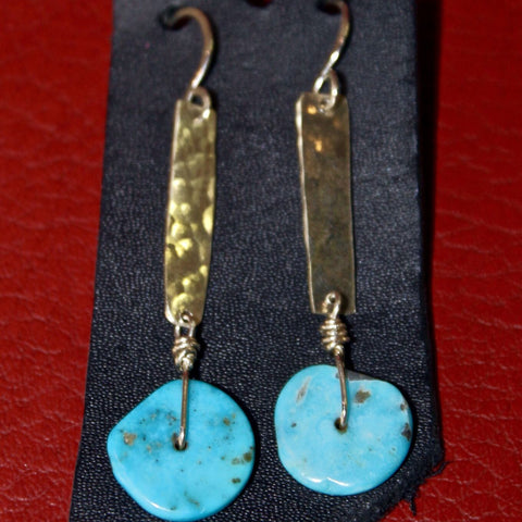 Sterling Silver Sheet With Turqoise Disc Earings