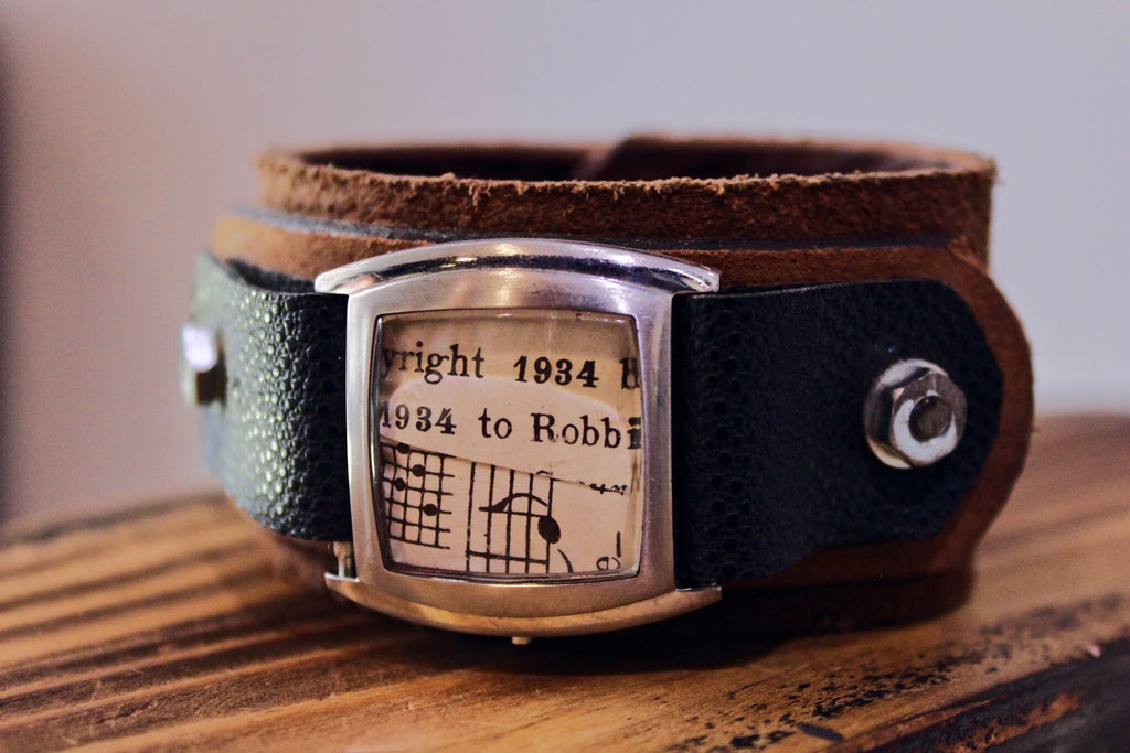 Leather Cuff with Watch and Vintage Sheet Music
