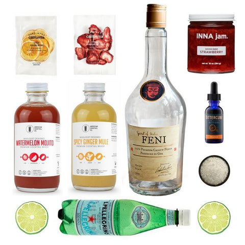 Crafted Taste Cocktail Kit Full Kit w/ Alcohol Feni Strawberry Caipirinha Cocktail Kit