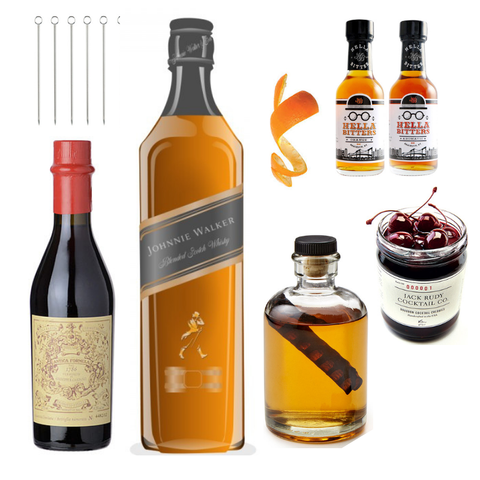 Crafted Taste Cocktail Kit Full Kit with Alcohol Johnnie Walker Red Rye Aged Manhattan Cocktail Kit