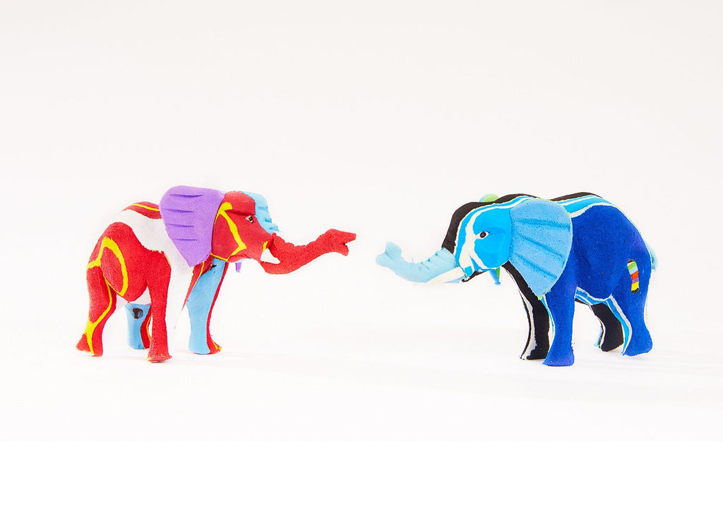 Small Elephant Recycled Flip Flop Sculpture