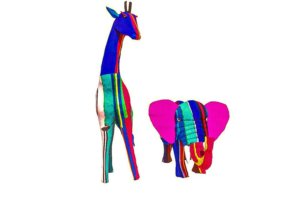 Medium Elephant and Giraffe (Set of 2)