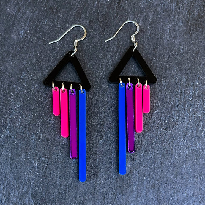 Earrings HOOK / CHIMETTES BI-FURIOUS SHORT DANGLES BIFURIOUS DANGLES - Bisexual Pride Earrings - Bold and colourful Earrings