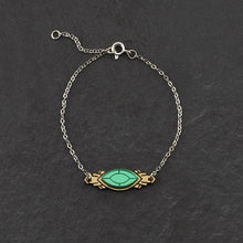 Load image into Gallery viewer, Bracelet THE ATHENA I Emerald and Gold Art Deco Bracelet THE ATHENA I Emerald and Gold Art Deco Bracelet I Handmade in Australia