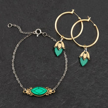 Load image into Gallery viewer, Bracelet EMERALD GEM / MATCHING HOOPS THE ATHENA I Emerald or Ruby and Gold Art Deco Bracelet THE ATHENA I Emerald or Ruby and Gold Art Deco Bracelet I Handmade in Australia