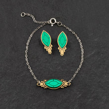 Load image into Gallery viewer, Bracelet THE ATHENA I Emerald or Ruby and Gold Art Deco Bracelet THE ATHENA I Emerald or Ruby and Gold Art Deco Bracelet I Handmade in Australia