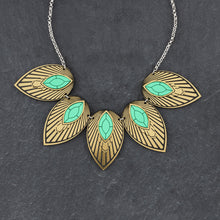 Load image into Gallery viewer, Necklace THE ATHENA I Emerald and Gold Art Deco Collar Necklace THE ATHENA I Emerald and Gold Art Deco Collar Necklace I Handmade in Australia