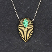 Load image into Gallery viewer, Necklace THE ATHENA I Emerald and Gold Art Deco Pendant Long Necklace THE ATHENA I Emerald and Gold Art Deco Pendant Long Necklace I Handmade in Australia
