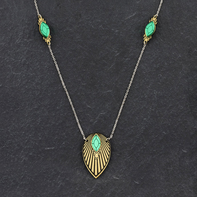 Necklace THE ATHENA I Emerald and Gold Art Deco Pendant Long Necklace THE ATHENA I Emerald and Gold Art Deco Pendant Long Necklace I Handmade in Australia