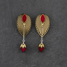 Load image into Gallery viewer, Earrings SMALL THE ATHENA I Ruby Red and Gold Stackable Earrings THE ATHENA I Ruby Red and Gold Customisable Earrings I Handmade in Australia